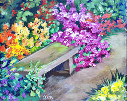park bench among the flower beds beginners acrylic painting tutorial with ginger cook
