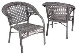 Malibu Outdoor Wicker Dining Chairs Set of 2 Gray Contemporary