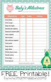 Baby Growth Milestone Chart Free Babys Milestones Printables Momma Lew