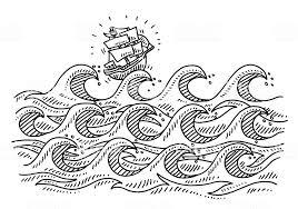 荒い海の波カットイラスト帆船の描出 いたずら書きのベクターアート