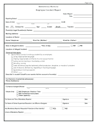 Employee Incident Report Template Magnificent Free Incident Report Template Word Employee Accident Employment Form
