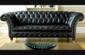 black leather couch. Balston Black Leather Chesterfield Couch