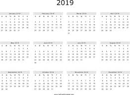 Calendar Year 2019 Printable Printable Calendar Year 2019 Yearly Calendar 2019 2019 Yearly