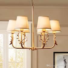 modern copper antler chandelier fabric lampshade led lamp for bedroom dining living room chandelier home lighting f080 tree branch chandelier decorative