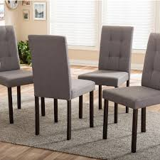 upholstered parsons chairs. Perfect Parsons Baxton Studio Andrew 9Grids Gray Fabric Upholstered Dining Chairs Set Of  4 With Parsons E