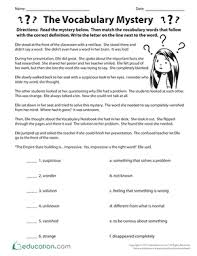Vocab Building Worksheets The Vocabulary Mystery Worksheet Education Com