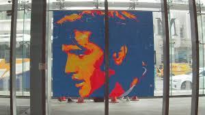 elvis presley pixel art with post it notes