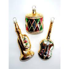 Musikinstrumente 3er Set Christbaumdeko Mundgeblasen