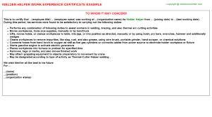 Welder Helper Job Description Welder Helper Job Experience Letter