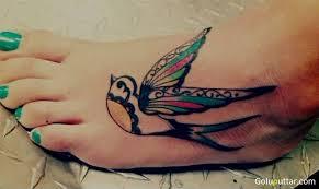 colorful birds flying tattoo. Plain Birds Beautiful Colored Flying Bird Ankle Tattoo For Colorful Birds B