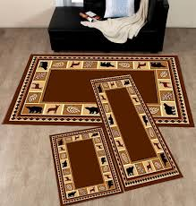 3 piece set brown wildlife bear moose rustic lodge cabin carpet area rug 631