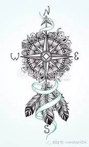 compass design unique compass with feathers tattoo design