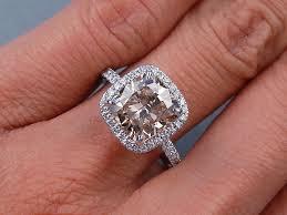 3 11 ctw cushion cut diamond engagement ring natural cinnamon si1