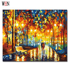 couple walking painting by numbers diy hand painted in the rain pictures canvas arts coloring by
