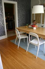 Acrylic Dining Room Chairs Blue Rug Under Rectangle Natural Teak Wood Dining Table With White