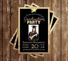 Print Graduation Announcement Gold Golden Graduation Invitation Announcement