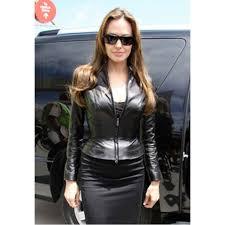 black stylish angelina jolie leather jacket