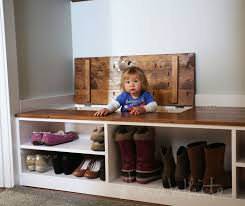 boot storage in wasted space of entry bench easy diy