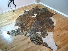 metallic cowhide rug brown and white with gold hide rugs silver