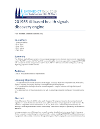 201955 AI based health signals discovery engine