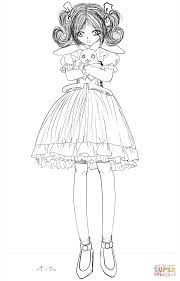 Small Picture Anime Girl with Stuffed Bunny by Gabriela Gogonea coloring page