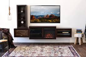 Floating Fireplace TV Console - ECO GEO Espresso