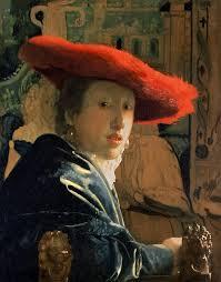 vermeer painting girl with a red hat by jan vermeer