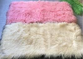 long hair washable mongolian lamb throw smooth shining for making decorative rugs