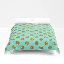 chic gold glitter polka dots pattern on turquoise duvet cover