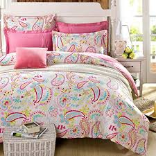 Amazon.com: Cliab Paisley Bedding Pink Twin Or Queen For Teen ... & Cliab Paisley Bedding Pink Twin Or Queen For Teen Girls Duvet Cover Set  100% Cotton Adamdwight.com