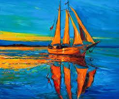 abstract painting sailing ship by boyan dimitrov