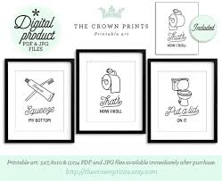 printable bathroom signs for kids. Wonderful Bathroom Funny Wall Art Bathroom PRINTABLE Set Of 3 Decor  Printables Bathroom Signs Kids Art On Printable Signs For E