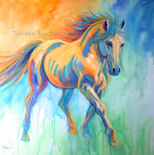running horse painting in bright colors by theresa paden