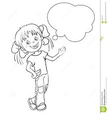 Small Picture Coloring Page Outline Of A Cartoon Girl With Speech Bubble Stock