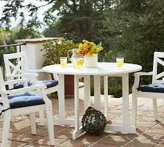 hampstead painted round drop leaf dining table chair set white pottery barn