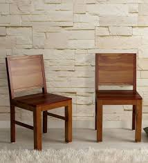 Solid wood dinning set Leather Chairs Buy Acropolis Solid Wood Dining Chair set Of 2 In Provincial Teak Finish By Woodsworth Online Contemporary Dining Chairs Dining Furniture Pepperfry Buy Acropolis Solid Wood Dining Chair set Of 2 In Provincial Teak