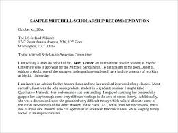 Scholarship Recommendation Template For A Student Letter Of Former