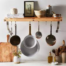 wall mounted pot rack with shelf on food52