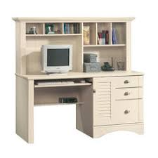 white desk with hutch. Sauder Harbor View Computer Desk With Hutch In Antiqued White D