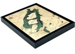 Lake Placid Ny Bathymetric 3 D Wood Carved Nautical Chart