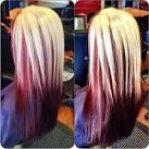 Platinum blonde hair with red