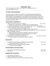 patient care technician resume objective with no experience examples  template technici