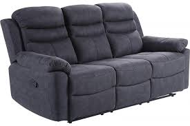 conway grey fabric recliner 3 seater