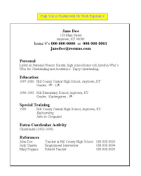 Sample Personal Resume Magnificent Resume For High School Student With No Work Experience Are Examples