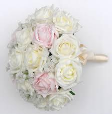 bridesmaids artificial rose wedding bouquet with gypsophila