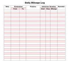 Free Mileage Forms Tax Mileage Log Template Atlasapp Co