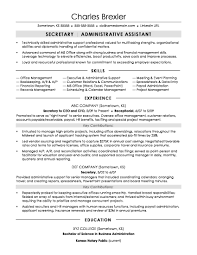 Resume For Secretary Job