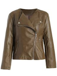 alligator pattern pu leather jacket brown xl