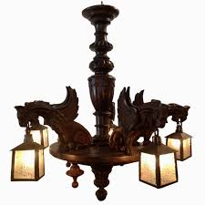 awesome black forest chandelier with dragons slag glass shades circa 1900 for antique bronze chandelier