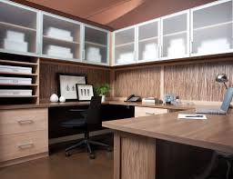 Home office home desk office Nice Light Brown Wood Grain Office With Shelves Drawers Wrap Around Desk And Cabinets With Frosted Glass California Closets Home Office Storage Furniture Solutions Ideas By California Closets
